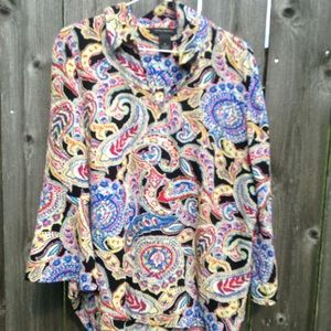 Investments  paisley  v neck blouse with collar